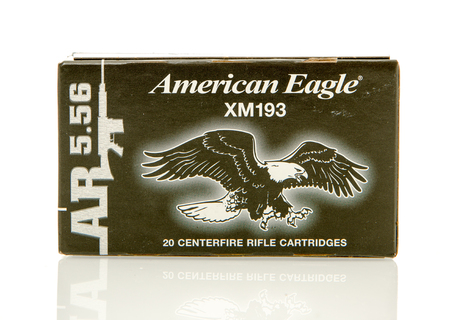 reloaded: Winneconne, WI - 10 Jan 2016: Box of American Eagle 5.56 x 45mm Nato rounds.
