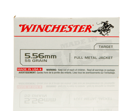 full jacket bullet: Winneconne, WI - 10 Jan 2016: Box of Winchester 5.56 x 45mm Nato full metal jacket rounds.