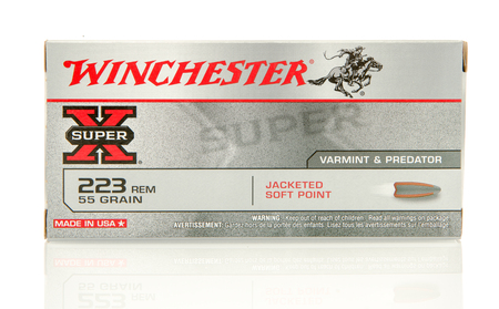Winneconne, WI - 10 Jan 2016: Box of Winchester 223 jacketed soft point rounds.