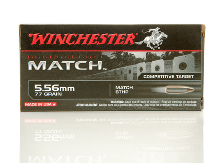 full jacket bullet: Winneconne, WI - 10 Jan 2016: Box of Winchester Match 5.56 x 45mm Nato full metal jacket rounds. Editorial