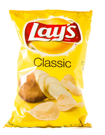 Winneconne, WI - 29 January 2015:  Bag of 10 OZ Frito Lay classic potato chips.  Frito-Lay is the worlds largest distributed snack food. Editorial