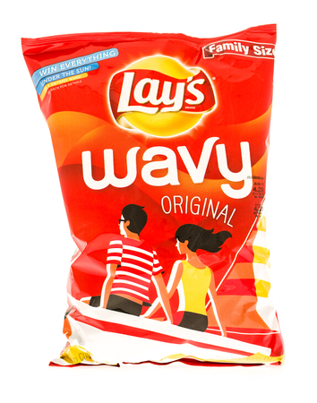 lays: Winneconni, WI - 7 July 2015: Bag of Lays Wavy original potato chips. Editorial