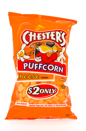 owned: Winneconni, WI - 16 June 2015: Bag of Chesters puffcorn which is owned by Frito-Lay