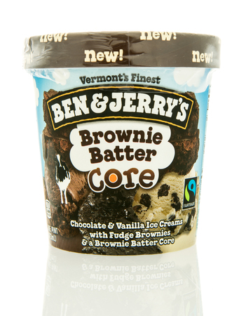 Winneconne, WI - 12 May 2016: Container of Ben & Jerrys ice cream in brownie batter core flavor on an isolated background Editorial