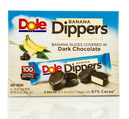 on the dole: Winneconne, WI - 12 May 2016: Box of Dole banana dippers on an isolated background