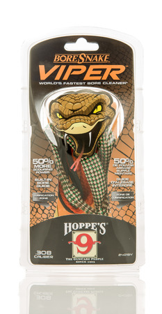 jag: Winneconne, WI - 10 Jan 2016: Package of a Viper bore snake, used in cleaning the bore of a firearm.