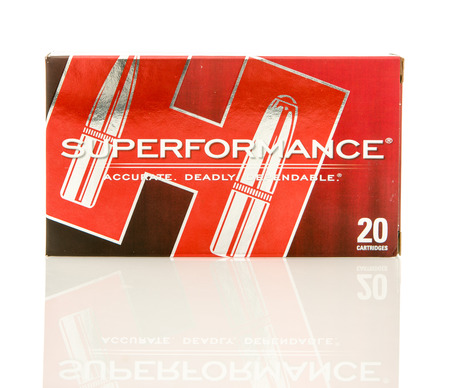 full jacket bullet: Winneconne, WI - 10 Jan 2016: Box of Superformance 308 rounds. Editorial