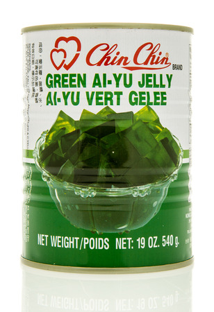 Winneconne, WI - 15 May 2016: Can of Chin Chin jelly on an isolated background