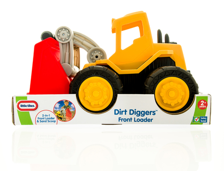 diggers: Winneconne, WI - 15 May 2016: Package of a Little Tikes dirt diggers on an isolated background