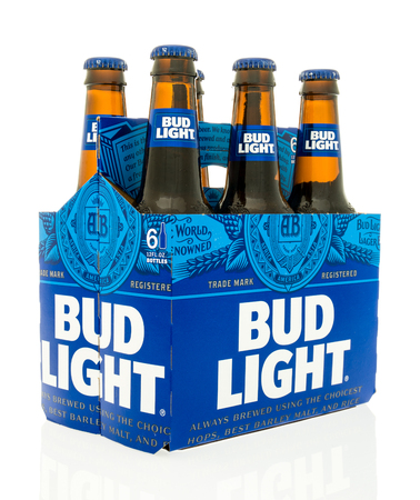 Winneconne, WI - 18 May 2016:  Six pack of Bud Light with new design on an isolated background Editorial