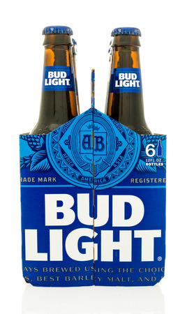6 pack beer: Winneconne, WI - 18 May 2016:  Six pack of Bud Light with new design on an isolated background Editorial