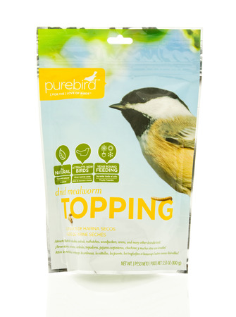 protien: Winneconne, WI - 18 May 2016:  Bag of dried mealworms for birds made by purebird on an isolated background