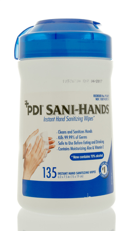 disinfect: Winneconne, WI - 18 May 2016:  Container of PDI Sani-hands on an isolated background Editorial