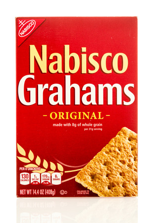 Winneconne, WI - 19 May 2016:  Box of Nabico Grahams original crackers on an isolated background