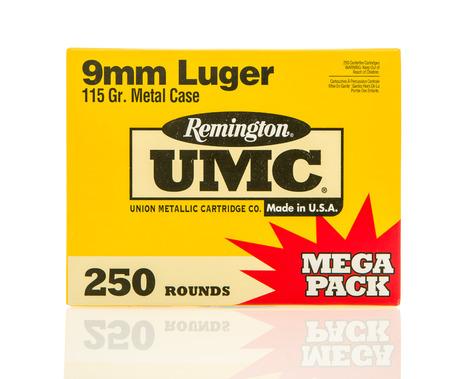 reloaded: Winneconne, WI - 10 Jan 2016: Box of Remington 9mm full metal jacket rounds.