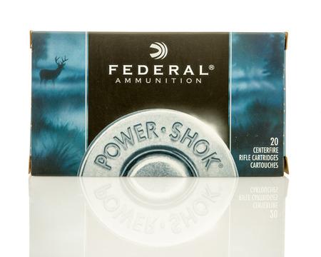 Winneconne, WI - 10 Jan 2016: Box of Federal 308 full metal jacket rounds. 報道画像