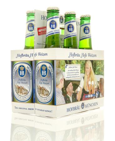 6 pack beer: Winneconne, WI - 10 Jan 2016: A six pack of Hofbrau hefe weizen beer.