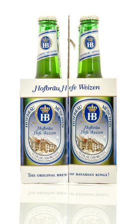 6 12: Winneconne, WI - 10 Jan 2016: A six pack of Hofbrau hefe weizen beer.