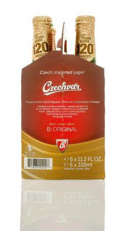 6 12: Winneconne, WI - 10 Jan 2016: A six pack of Czechvar beer.