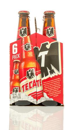 6 12: Winneconne, WI - 10 Jan 2016: A six pack of Tecate beer.