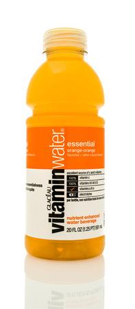 Winneconne, WI - 14 Jan 2016:  Bottle of Vitamin water in orange flavor. Editorial