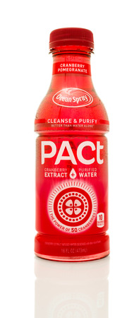 pact: Winneconne, WI - 14 Jan 2016:  Bottle of Ocean Spray Pact in cranberry pomergranate flavor