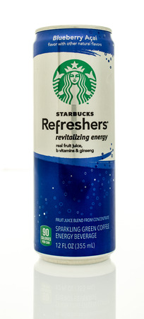 revitalizing: Winneconne, WI - 14 Jan 2016:  Can of Starbucks Refreshers revitalizing energy drink in blueberry acai flavor. Editorial