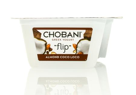loco: Winneconne, WI - 17 Jan 2016:  Container of Chobani Greek flip yogurt in almond coco loco flavor
