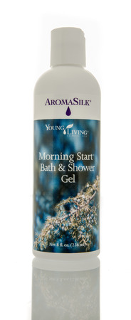 master bath: Winneconne, WI - 29 Jan 2016:  Bottle of AromaSilk morning start bath and shower gel made by Young Living