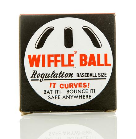 Winneconne, WI - 5 Feb 2016:  Box of the original wiffle ball that is size of a baseball.