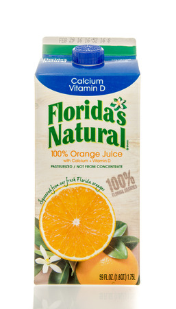 tropicana: Winneconne, WI - 7 Feb 2016:  Container of Floridas Natural orange juice with calcium and vitamin D.