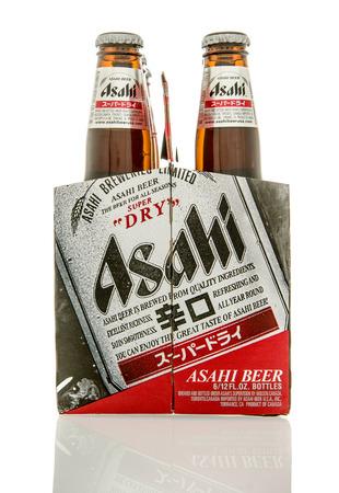 6 12: Winneconne, WI - 7 Feb 2016: Six pack of Asahi beer from Japan. Editorial
