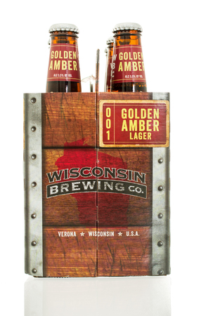 glarus: Winneconne, WI - 10 Feb 2016:  Six pack of Golden Amber lager made by Wisconsin Brewing Company.
