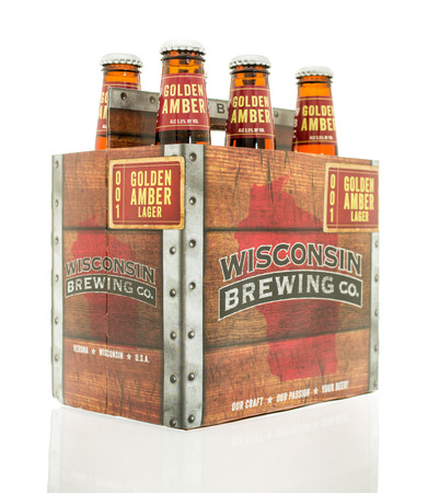 blake and white: Winneconne, WI - 10 Feb 2016:  Six pack of Golden Amber lager made by Wisconsin Brewing Company.