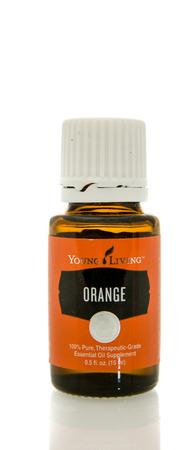 hydrophobic: Winneconne, WI - 10 Feb 2016:  Bottle of Young Living orange essential oil.