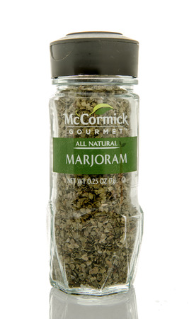 Winneconne, WI - 26 Feb 2016: Bottle of McCormick gourmet marjoram