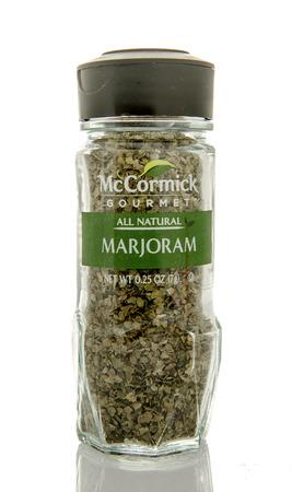 Winneconne, WI - 26 Feb 2016: Bottle of McCormick gourmet marjoram