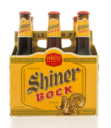 blake and white: Winneconne, WI - 26 Feb 2016: Six pack of Shiner Bock beer that is brewed in Shiner, Texas