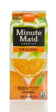 Winneconne, WI - 26 Feb 2016: Container of Minute Maid orange juice