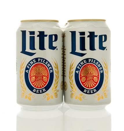 Winneconne, WI - 17 Feb 2016: Six pack of Miller Lite in cans. Editorial