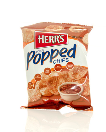 tangy: Winneconne, WI - 17 Feb 2016: Bag of Herrs potato popped chips in tangy BBQ flavor