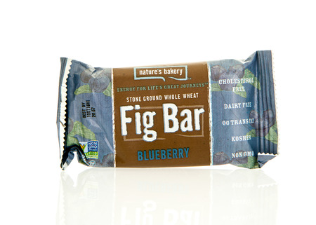 natures: Winneconne, WI - 17 Feb 2016: Package of Natures Bakery fig bar in blueberry flavor.