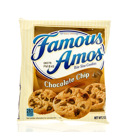 Winneconne, WI - 19 Feb 2016: Bag of Famous Amos chocolate chip cookies.