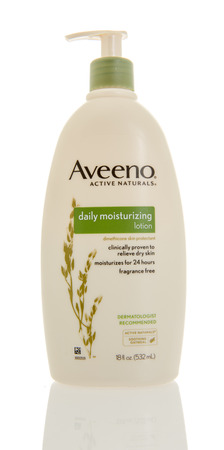 Winneconne, WI - 5 March 2016:  A bottle of Aveeno daily moisturizing lotion.
