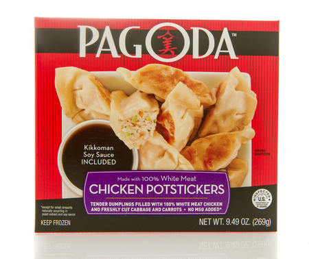 potstickers: Winneconne, WI - 2 March 2016:  Box of Pagoda chicken potstickers