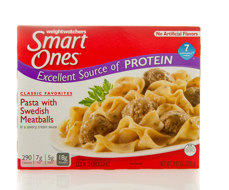 diet dinner: Winneconne, WI - 2 March 2016:  Box of Smart ones Pasta with swedish meatballs meal by weightwatchers.