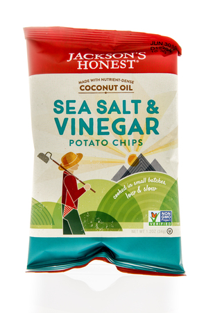 honest: Winneconne, WI - 5 March 2016:  A bag of Jacksons honest potato chips in sea salt & vinegar flavor