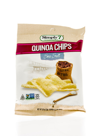 Winneconne, WI - 5 March 2016:  A bag of Simply 7 quinoa chips in sea salt flavor