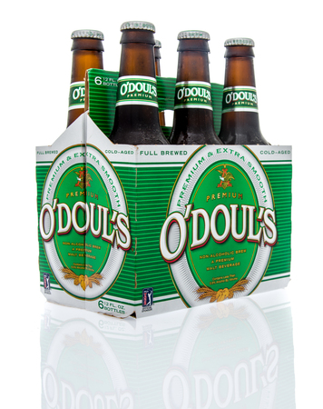 nonalcoholic beer: Winneconne, WI - 16 March 2016: Six pack of Odouls non-alcoholic malt beverage