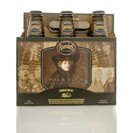 founders: Winneconne, WI - 1April 2016:  A six pack of Founders brewing porter beer on an isolated background